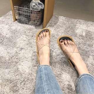 🚚 2018夏季韓風透明交叉軟底拖鞋平底凉鞋【GW1105】(預)