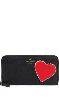 (Brand New and Unused) Authentic Kate Spade New York Lacey Heart Zip Around Leather Wallet