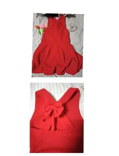 Red ribbon backless deess