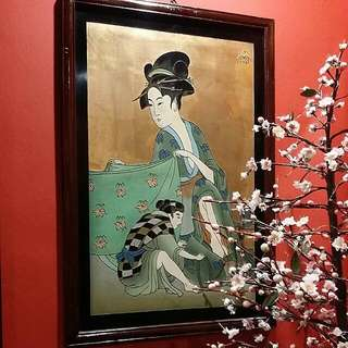 Japanese Vintage Handpainted  Art On Wood No.1