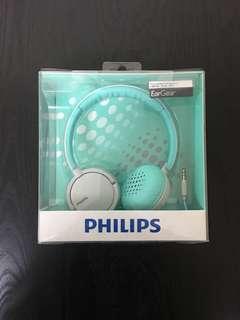 飛利浦耳機 重低音 philips ear gear extra bass headphone 湖水藍tiffany blue