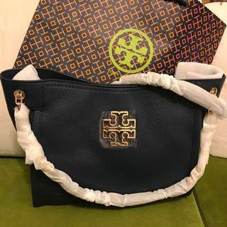 (可少議) Tory Burch Navy Signature Leather Bag