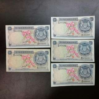 5 Singapore Orchid $1 Notes Gks Signature