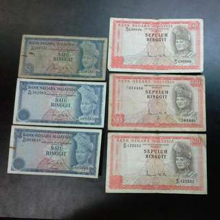 5 Old Malaysia $1 $5 Ringgit Notes