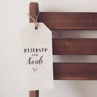 Reserved signs for wedding chairs