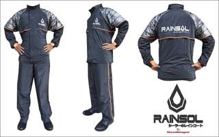 Jas Hujan Rainsol Ventilator Batik & Furing  Hitam