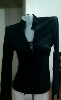 Elegant black adjustable long v-neck with chinese collar