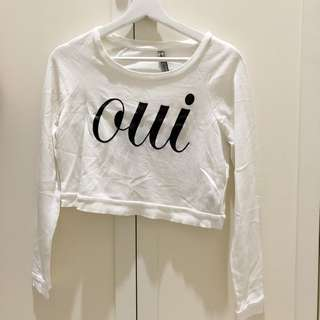 Stradivarius White Cropped Sweater - size S