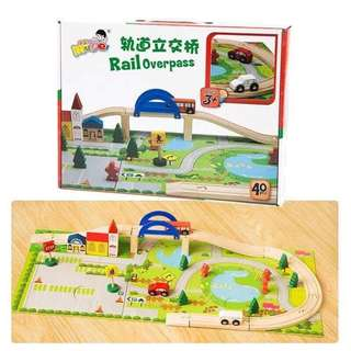 Rail overpass wooden toy