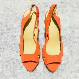 Novo Tangerine Block Open Toe Heels