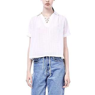 The Editor's Market - White Cropped Shirt XS