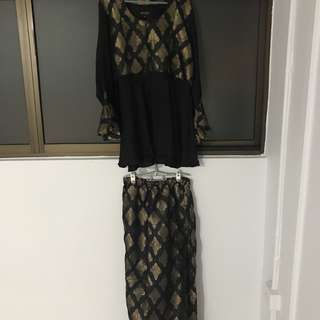 Brand new nejma black gold baju kurung plus size