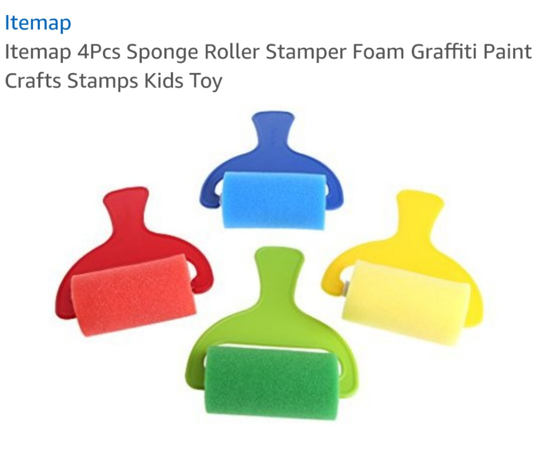 4Pcs Sponge Roller Stamper Foam Graffiti Paint Crafts Stamps Kids Toy