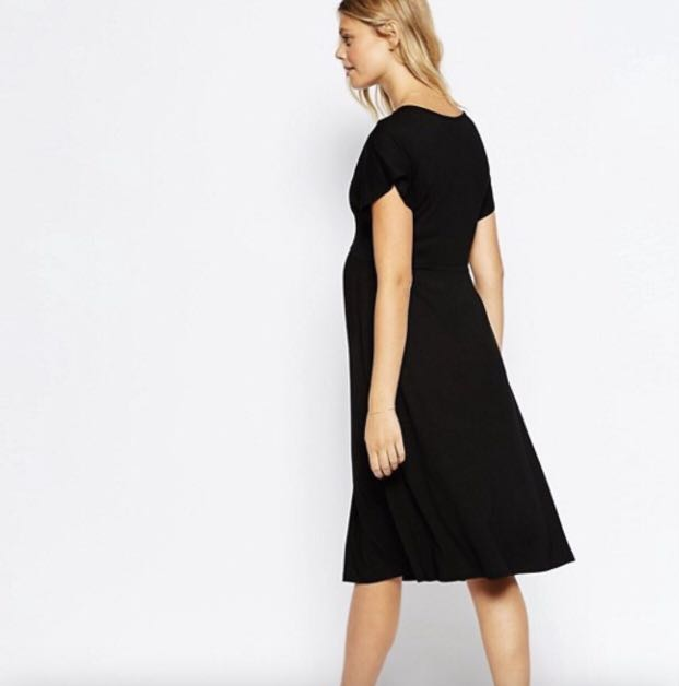 487156e2c7 ASOS Maternity Midi Dress with Flutter Sleeve (Black - UK 8)