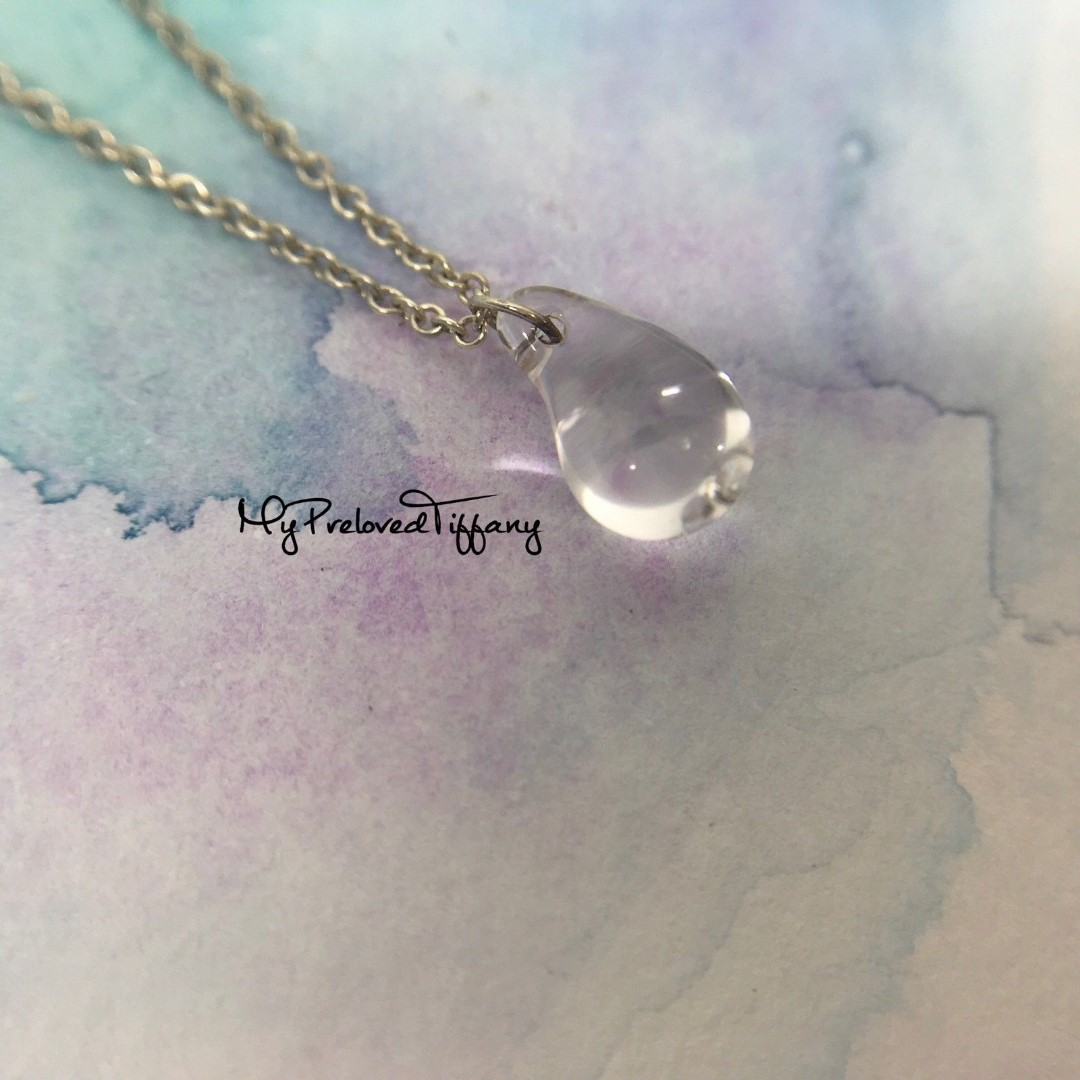 727a055d830ee Authentic Tiffany & Co Elsa Peretti Mini Small Crystal Teardrop Silver  Necklace REMADE