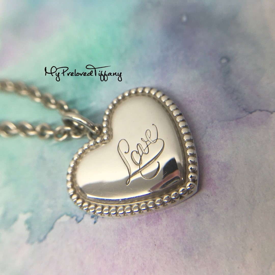 7829b4696f1a2 Authentic Tiffany & Co. Notes Love Beaded Pendant Charm Silver Necklace