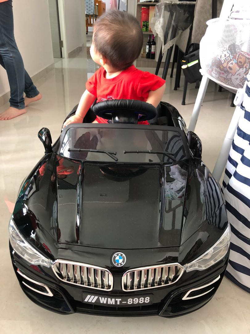 Baby Kids Rechargeable Battery Electric Remote Control Operated Black Toy Car Bmw