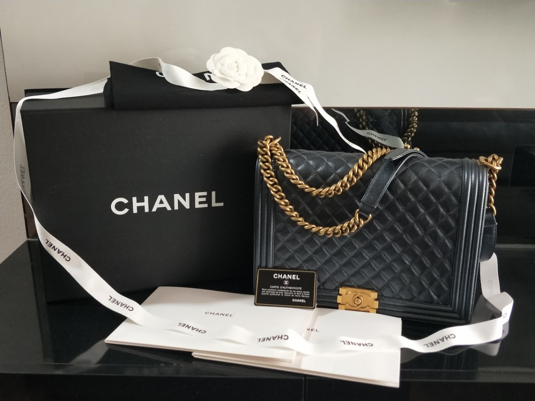 8a2af91b750e9d Chanel Boy Large In Anthracite, Luxury, Bags & Wallets, Handbags on ...