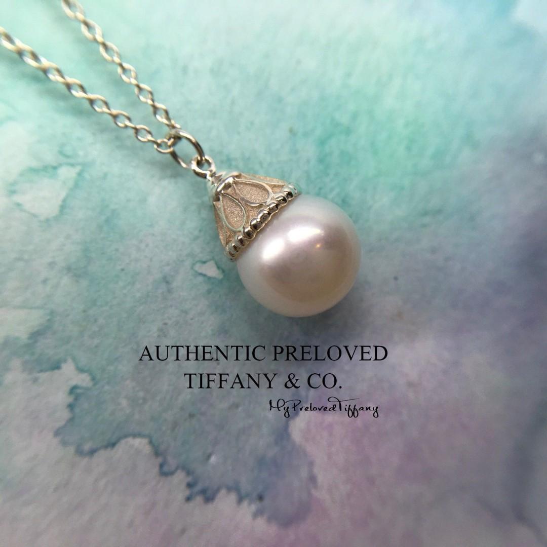 dae3e52cda2a1 Excellent Authentic Tiffany & Co. Ziegfeld Freshwater Pearl Necklace Silver