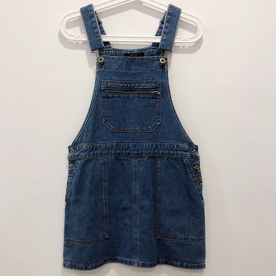 9aa707694b Forever 21 Classic Denim Dungaree Dress, Women's Fashion, Clothes ...