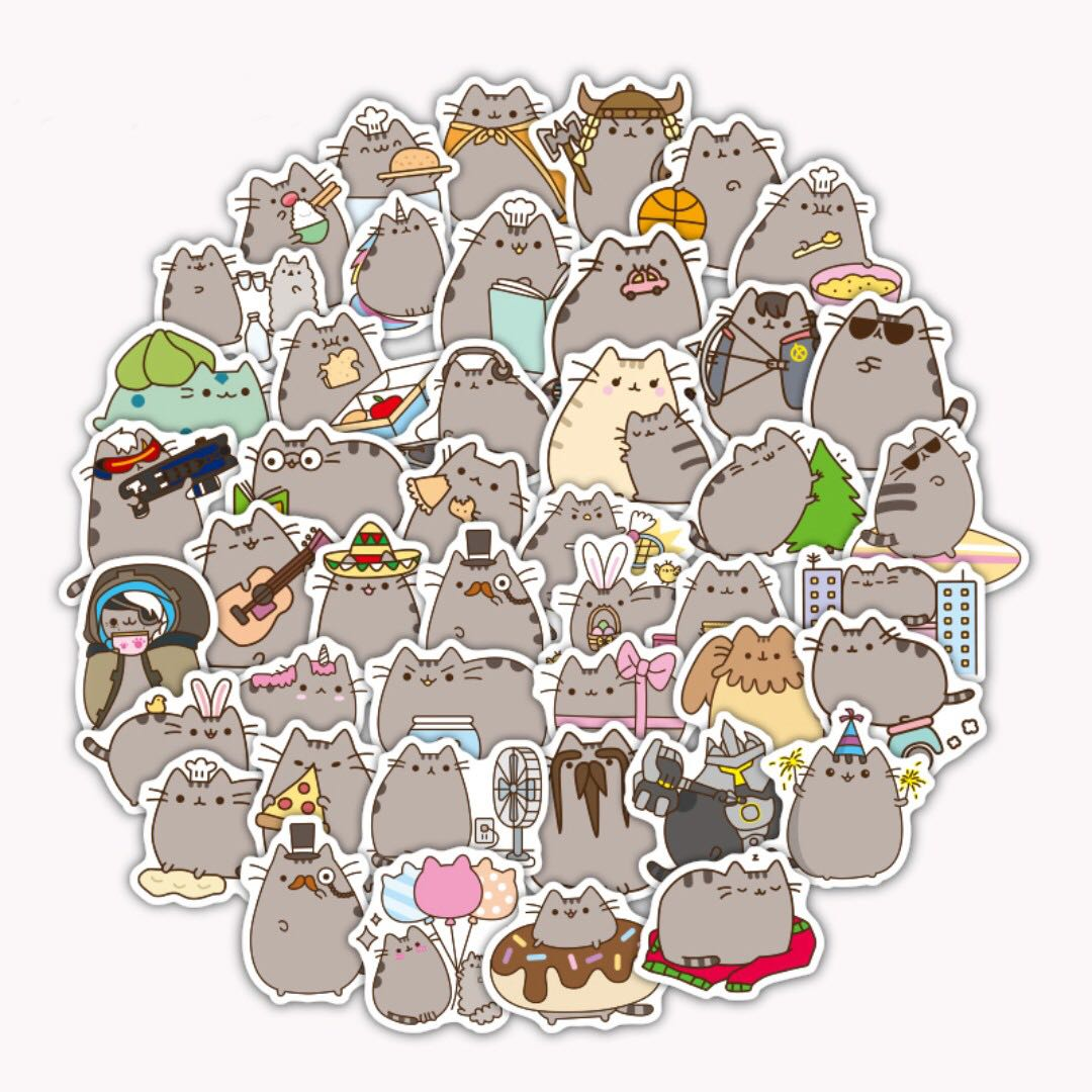 Free Delivery 100 Pieces Lot Pusheen Cat Cute Pvc Waterproof Gund Holiday Sweater Stickers For Phone Laptop Toys Games Stuffed On Carousell