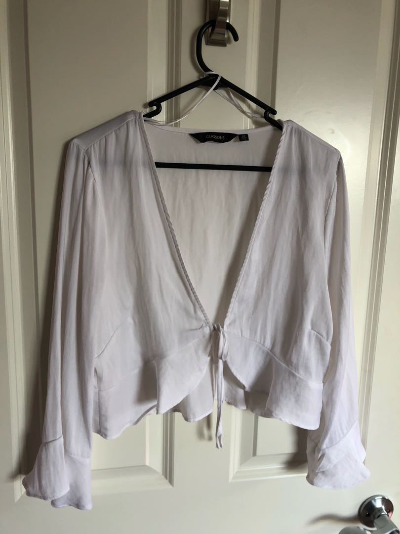 Glassons tie front chiffon crop