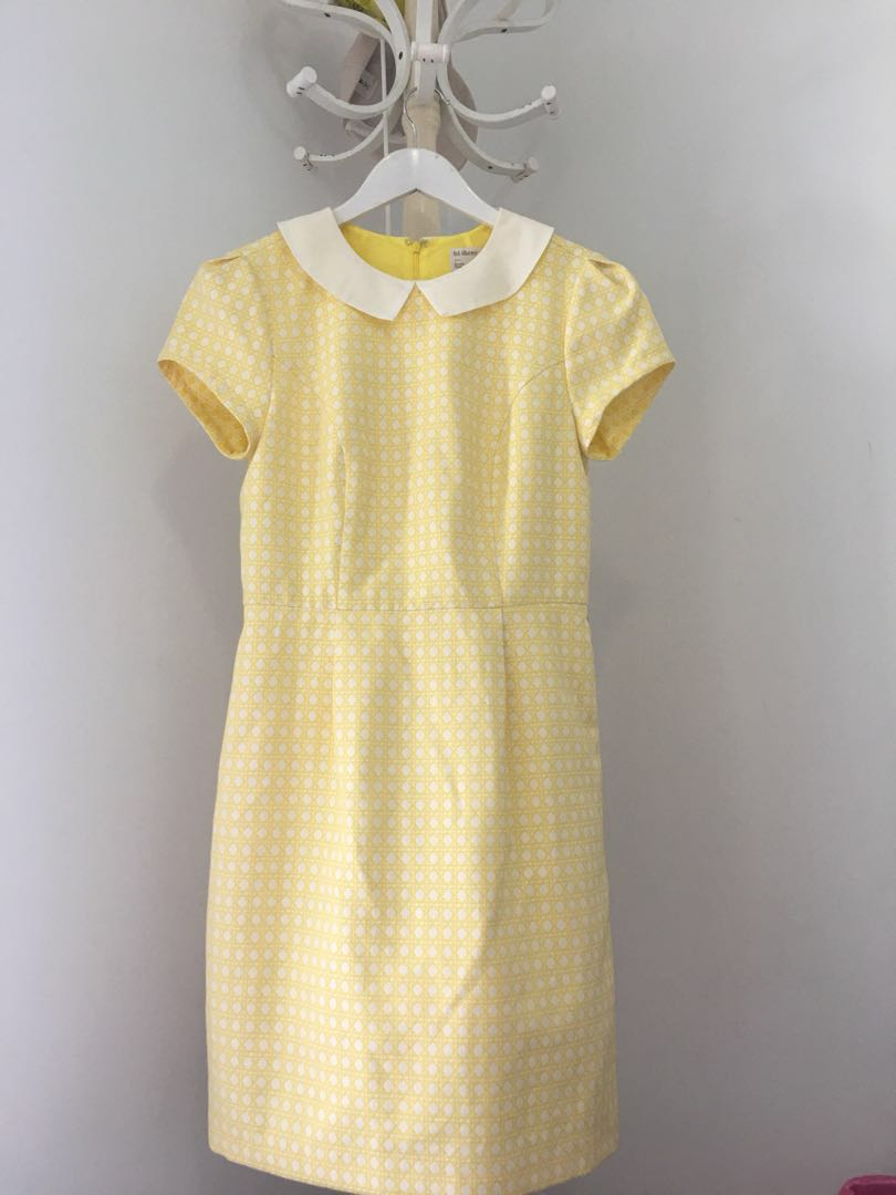 HI THERE by KAREN WALKER size 10 yellow dress with Peter Pan style collar
