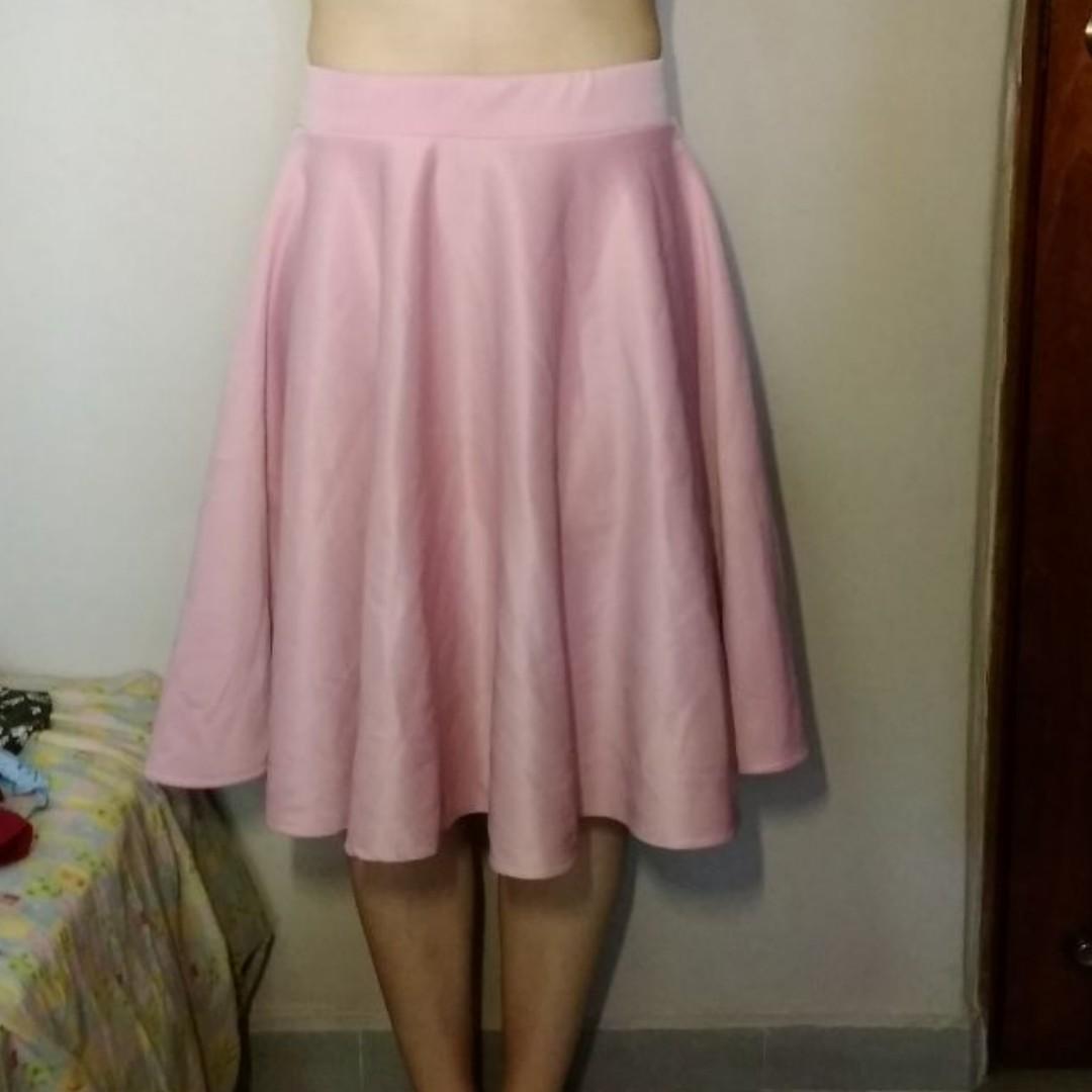 8b38f913549 Mauve Pink Midi Circle Skirt