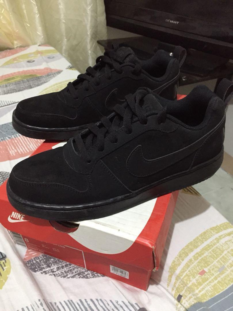 low priced cafb7 b6596 Nike court borough low triple black mens fashion footwear on carousell jpg  810x1080 Court nike borough