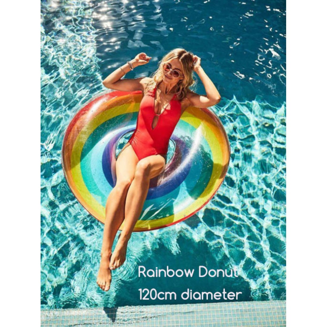 Rainbow Donut - Adult Inflatable Giant Float Swimming Pool ...