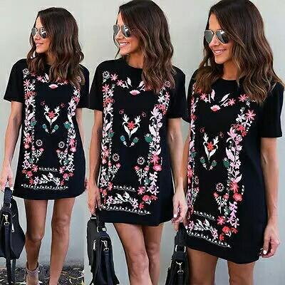 89ddecc44aa Women Summer Boho Floral Printed Maxi Evening Party Dress Beach Mini ...