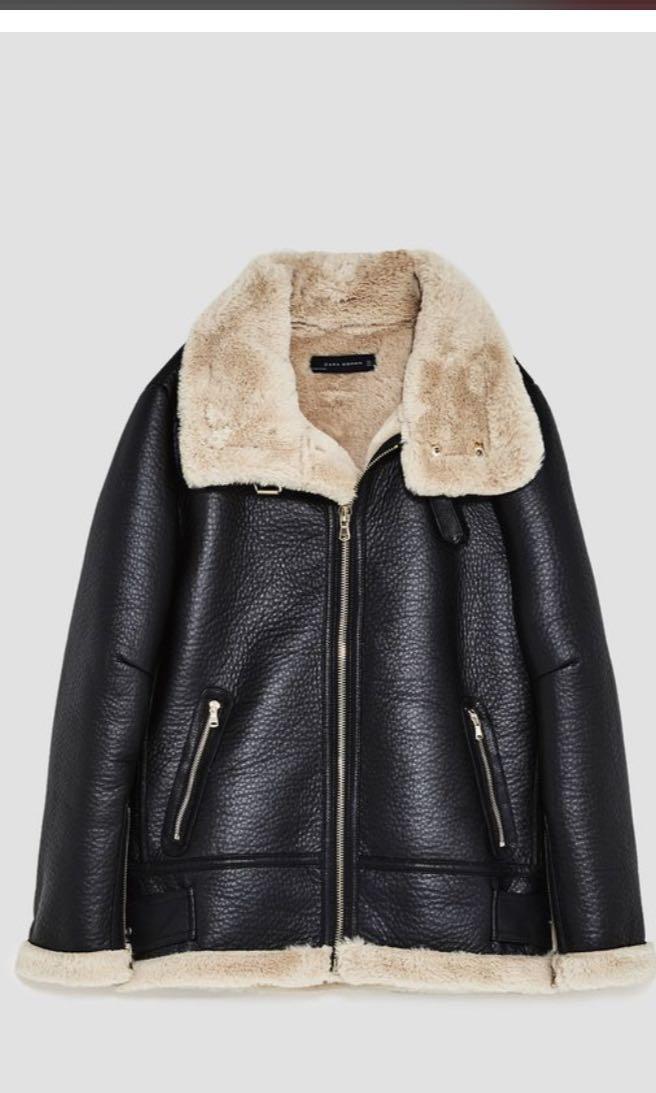 750b1db2 Zara faux leather shearling fur lined aviator jacket, Women's ...
