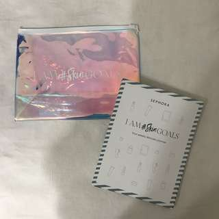 sephora skincare planner notebook & holographic makeup pouch set