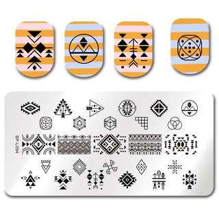 BORN PRETTY Geometry Nail Stamping Template Negative Space Puzzle Figure Flower Arrow Stamp Nail Manicure Nail Stamping Plate