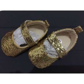 Prewalker Baby Gold Glitter Shoes