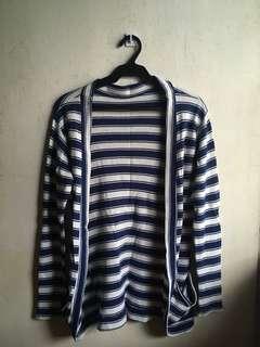 Navy Blue Striped Cardigan