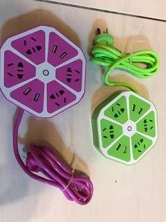 🚚 六角型創意USB水果插座 家用多孔插線盤 USB充電盤 多功能插座 智能插座 過載保護