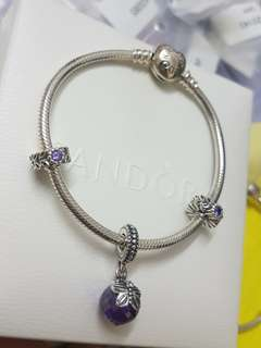 Pandora Sparking  Butterfly Purple Dangle bracelet  set