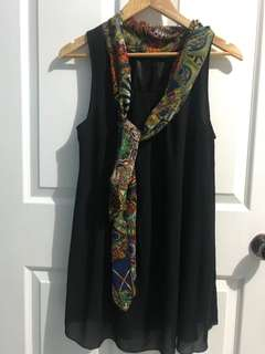 Black Sleeveless Tunic Top with Printed Neck Tie