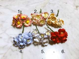 Mulberry Paper Flowers Florals (Set of 5)
