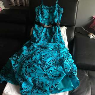 Gorgeous Teal and Black Flower Dress