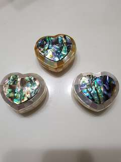 Abolone and mother of pearl heart shape boxes 3 pcs set