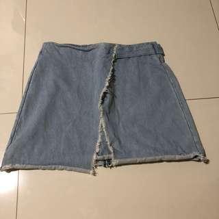 Denim Overlap Highwaist Skirt