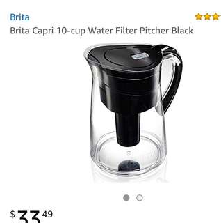 Brita Capri 10-cup Water Filter Pitcher Black