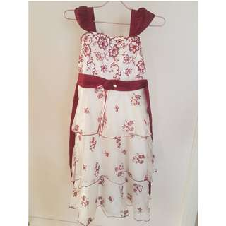 Dress Pesta / Gaun Anak Maroon & Putih