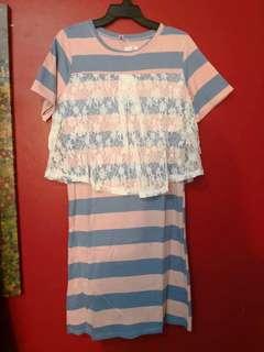 Brand new pink blue straps lace dress
