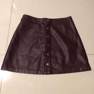 Forever21 Leather Button-down A-line Skirt