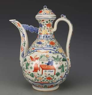 Ming Dynasty Five Colours Handled Ewer