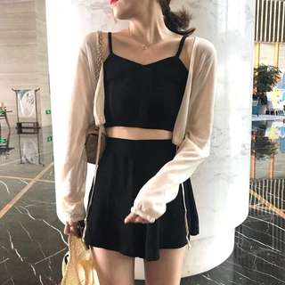 INSTOCKS 2 piece crop top + shorts set - black