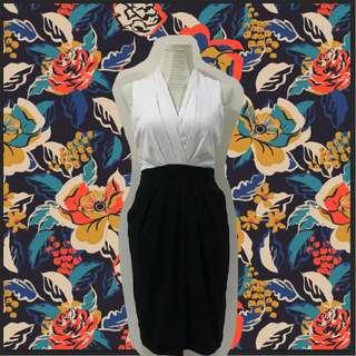 H&M black and white formal dress